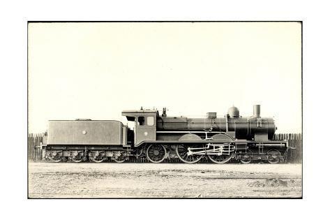 size: 24x16in Giclee Print: Foto Deutsche Dampflok S7, Tender, an Einem Zaun :