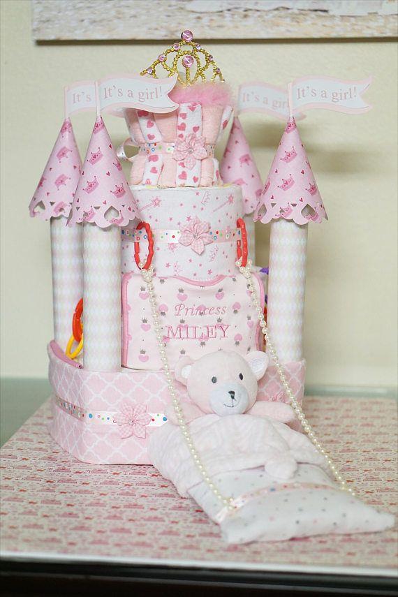 Princess Castle Diaper Cake Baby Shower Diaper Cake Fancy Baby