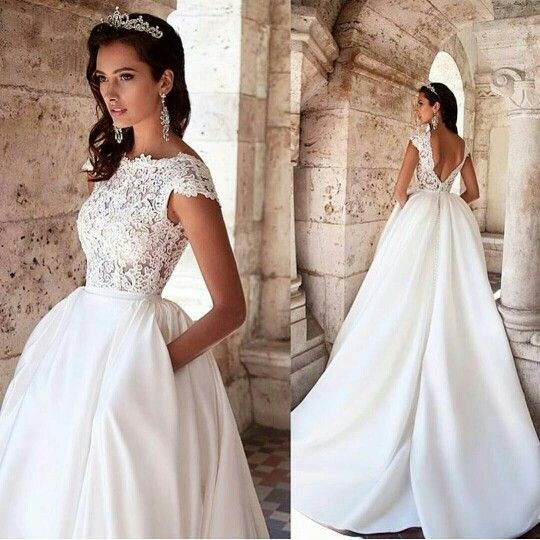 Satin And Lace Wedding Dress With Pockets Modest Lace Wedding Dresses Lace Top Wedding Dress Wedding Dresses Corset