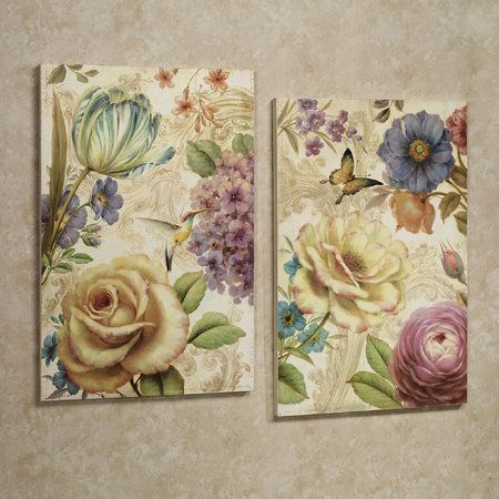 Array of Flowers Wooden Wall Art Plaque Set