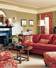 Martha stewart midcentury paint colors google search - Living room color schemes red couch ...