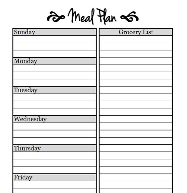 picture about Printable Meal Planning Template identified as Printable Evening meal Designing Templates in direction of Simplify Your Everyday living