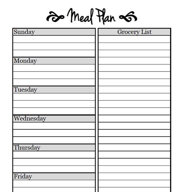 Printable Meal Planning Templates to Simplify Your Life Cardápio