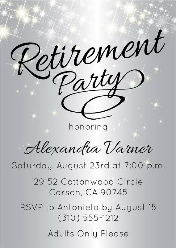 Silver Retirement Party Invitation  Retirement Party Invite