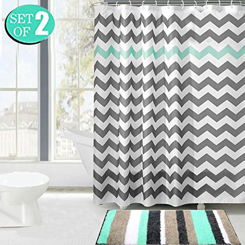 HEBE Non-slip Striped Microfiber Bathroom Rug Mat, Fabric Shower ...