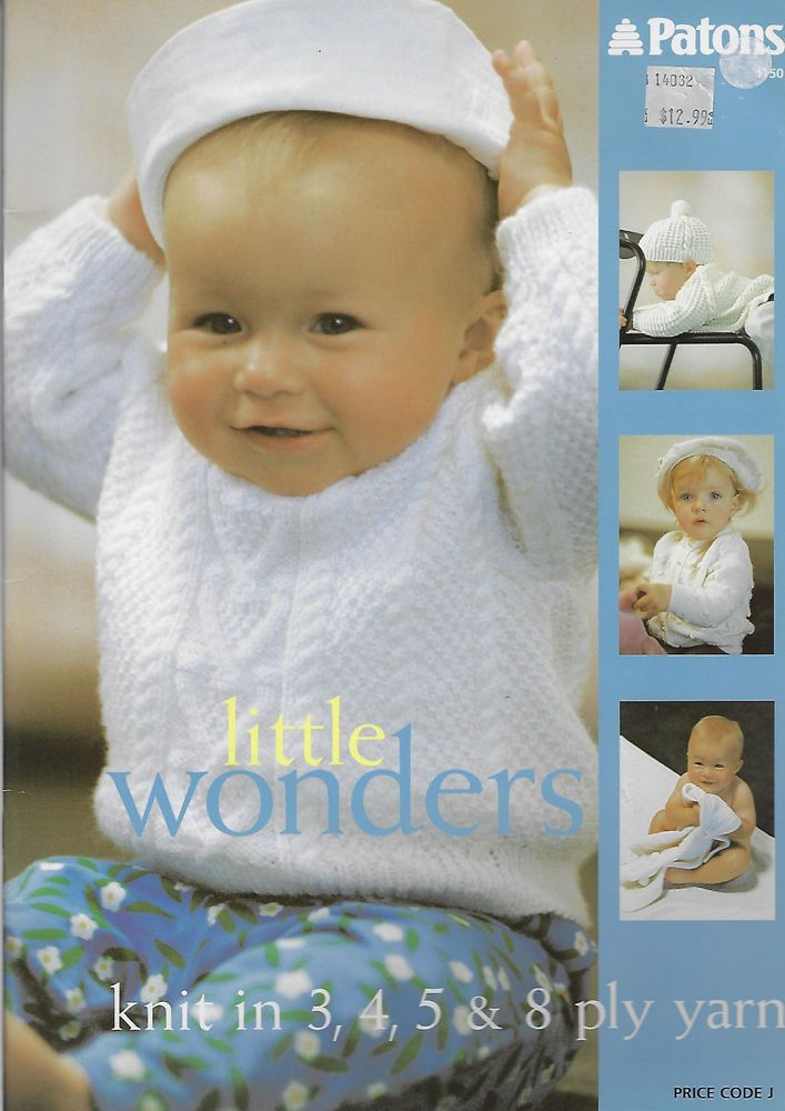 Baby Little Wonders Patons 1150 Knitting Pattern Book 3 4 5 Ply