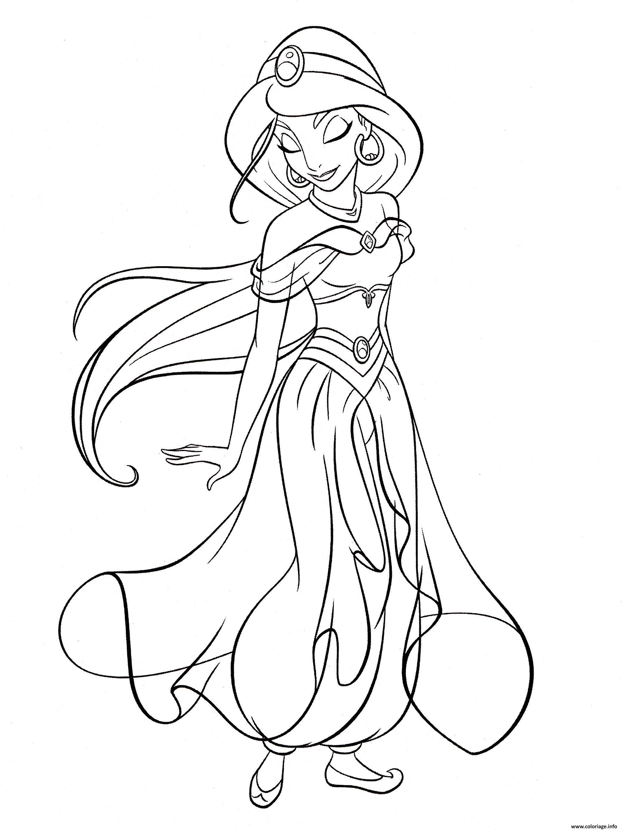 Coloriage princesse jasmine du conte Aladin et la lampe