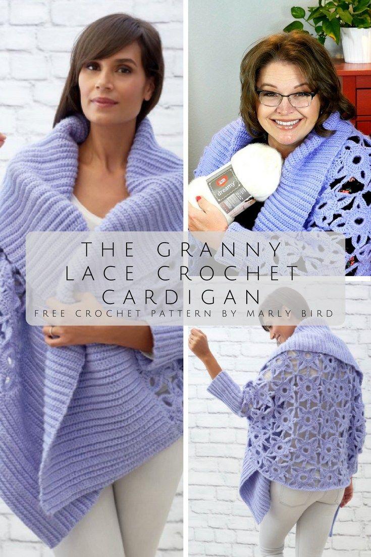 Free Crochet Pattern-The Granny Lace Crochet Cardigan | Pinterest ...