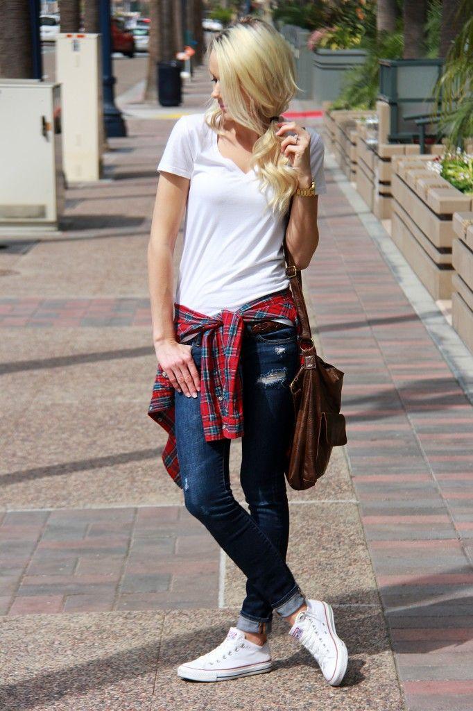 laaja valikoima suosituin kauneus on the go look | Plaid | Jeans | Converse | fashion blogger ...