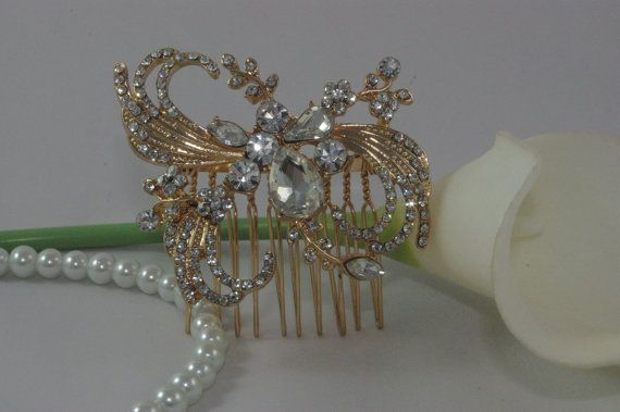 Gold Wedding Hair Comb Crystal Bridal Hair Clip by TheOmbreMouse