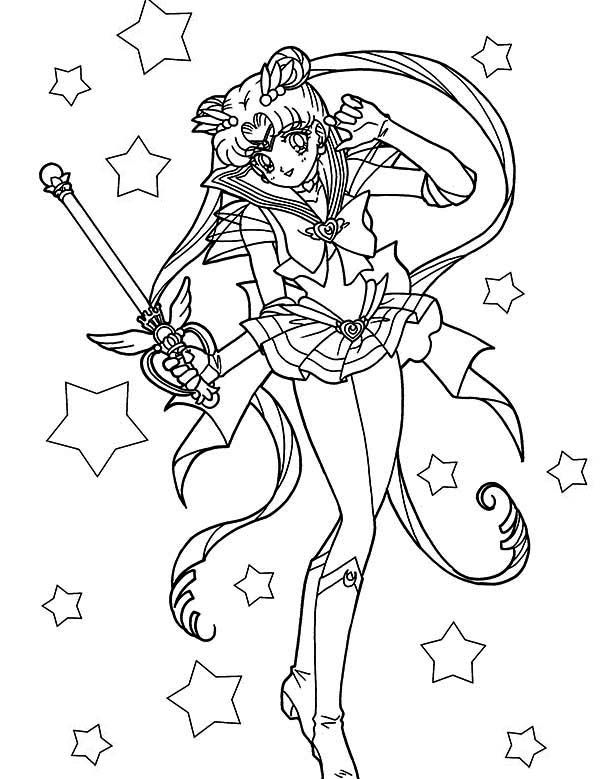 Beautiful Sailor Moon Usagi Tsukino Coloring Page With Images