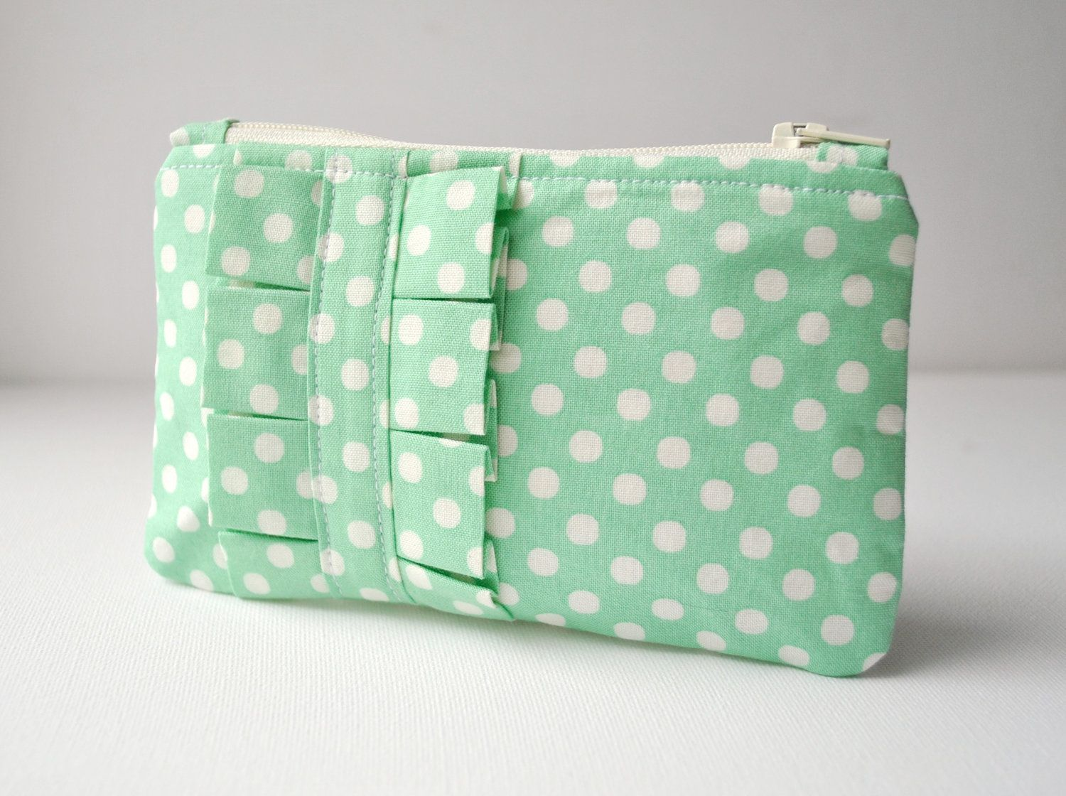 Coin purse wallet polka dot spot in mint green and white