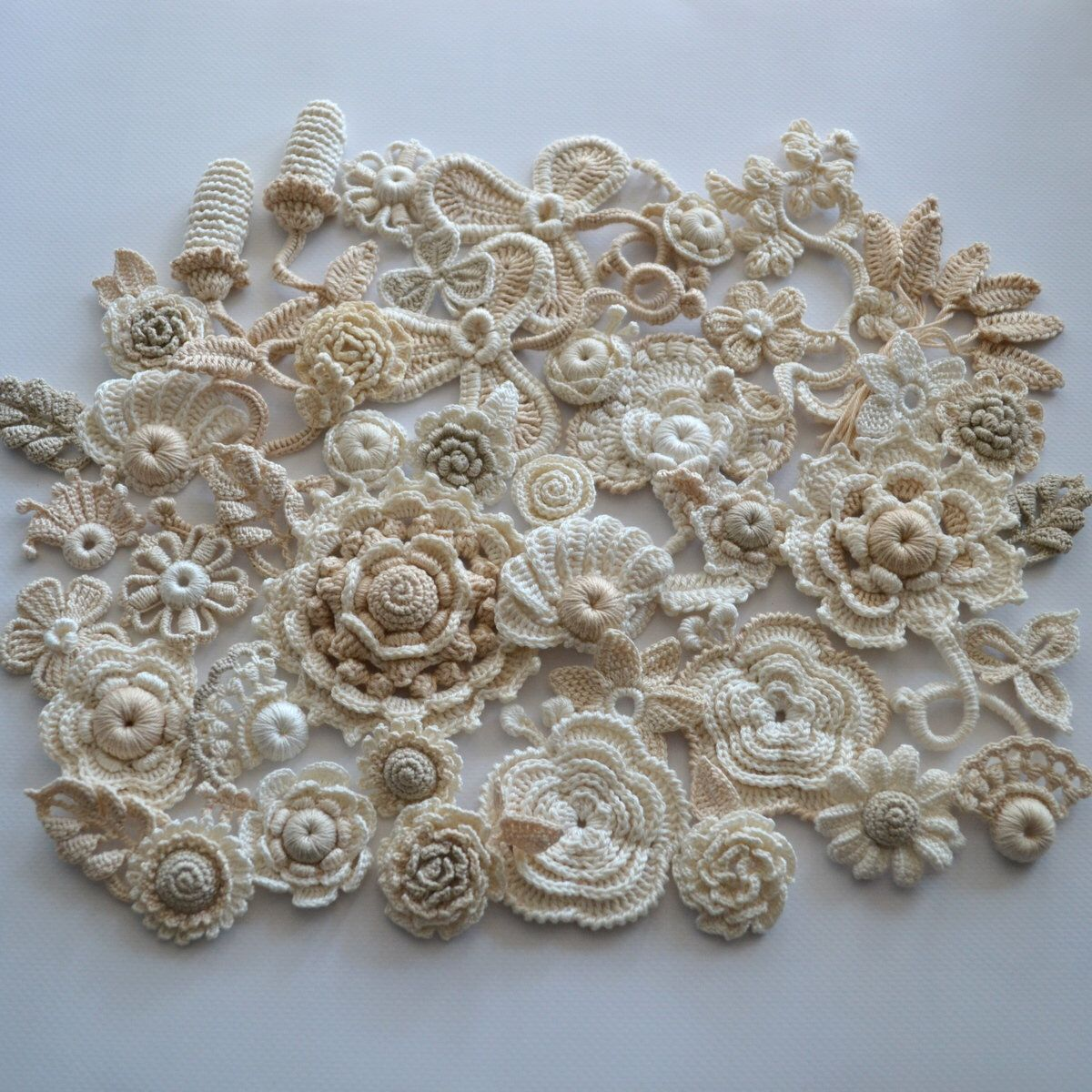 Boho Wedding Crochet flower Irish Crochet 45 pcs Flower applique Irish lace Flower necklace Crochet set Flower art Rose #irishcrochetflowers