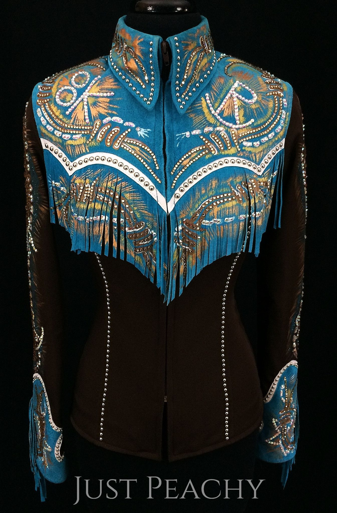 Chocolate and Turquoise Fringed Riding Jacket by Connie's Customs ~ Just Peachy Show Clothing