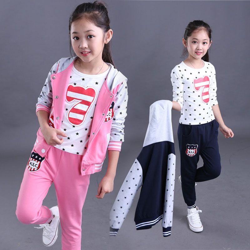 Kids Girls Cartoon Tracksuit Outfits Set Short Sleeve T-shirt+Jeans Age 6 8 10