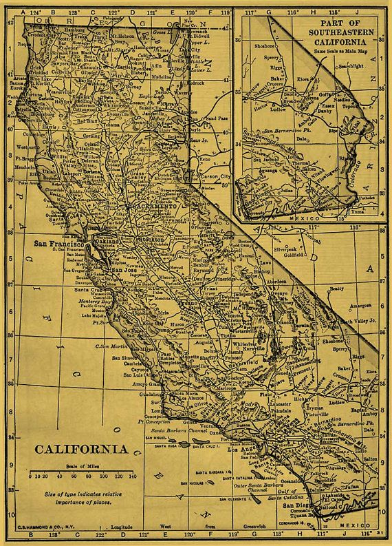 California Map Download.Rustic California Map Printable Download For By Workbox On Etsy