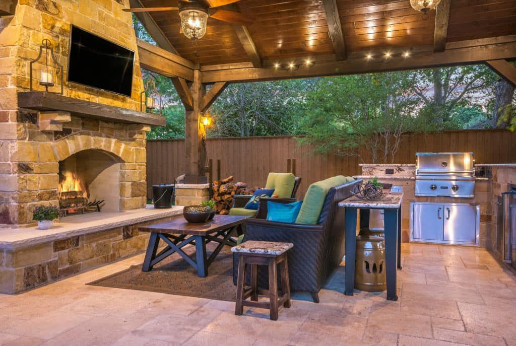 Outdoor Retreat In North Dallas Texas Custom Patios Outdoor Remodel Outdoor Fireplace Plans Rustic Patio