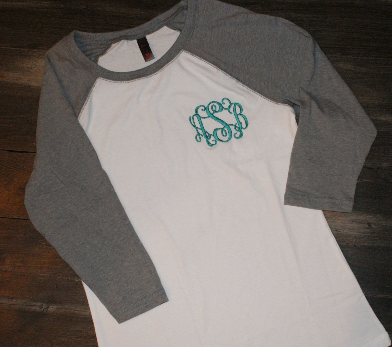 ladies monogram raglan 3 4 sleeve tee quarter baseball t shirt tee