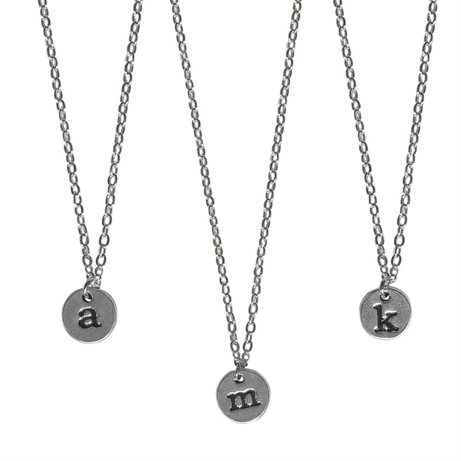 """18/"""" Black Wax Cotton Necklace Silver Plated Letter Initial Pendant Necklace A  Z"""