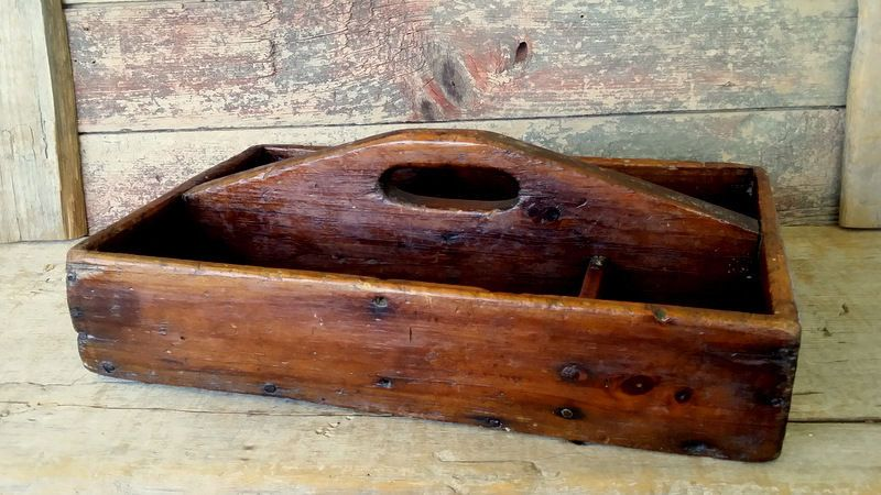 Antique Early Wooden Primitive Carrier Tote 19thc Handled Box Old Nails Rustic Wooden Antiques Wood Tote