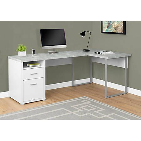 Monarch Specialties L Shaped Computer Desk With 2 Drawers Gray Cement White Item 390869 Oficina En Casa Diseno De Oficina En Casa Muebles De Oficina En Casa