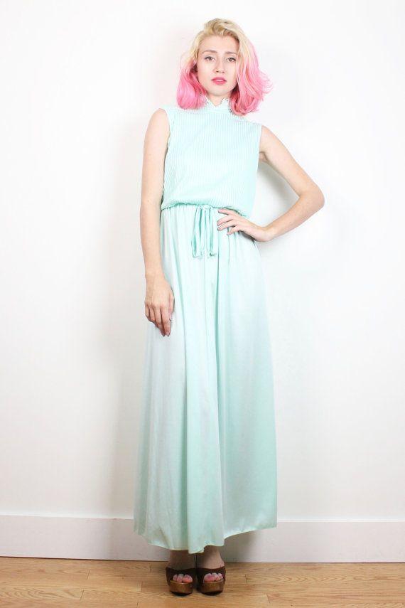 3f549f28ff1 Vintage 1970s Dress Mint Green Maxi Dress Pin Tuck Pleated Lace Cut Outs  Hippie Dress 70s Dress Pastel Green Midi Dress Boho S Small M Med  1970s   70s  midi ...