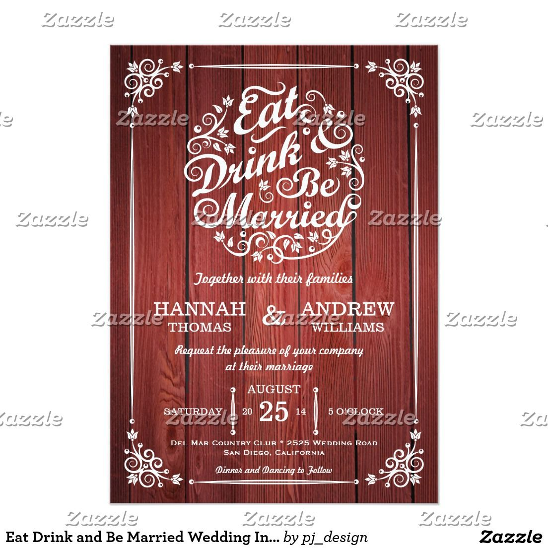 Eat Drink and Be Married Wedding Invitation | Wedding