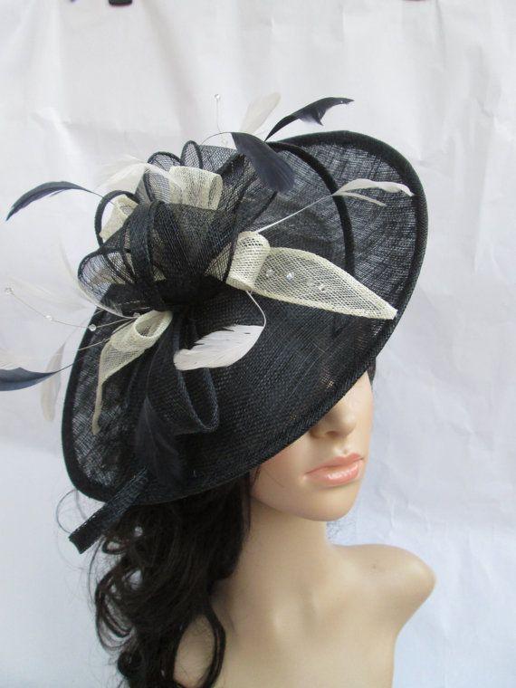 Beautiful  Handmade Navy & Ivory Sinamay Fascinator Hat on a Headband on Etsy, $76.58