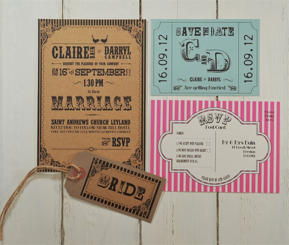 Retro circus or carnival style wedding stationery