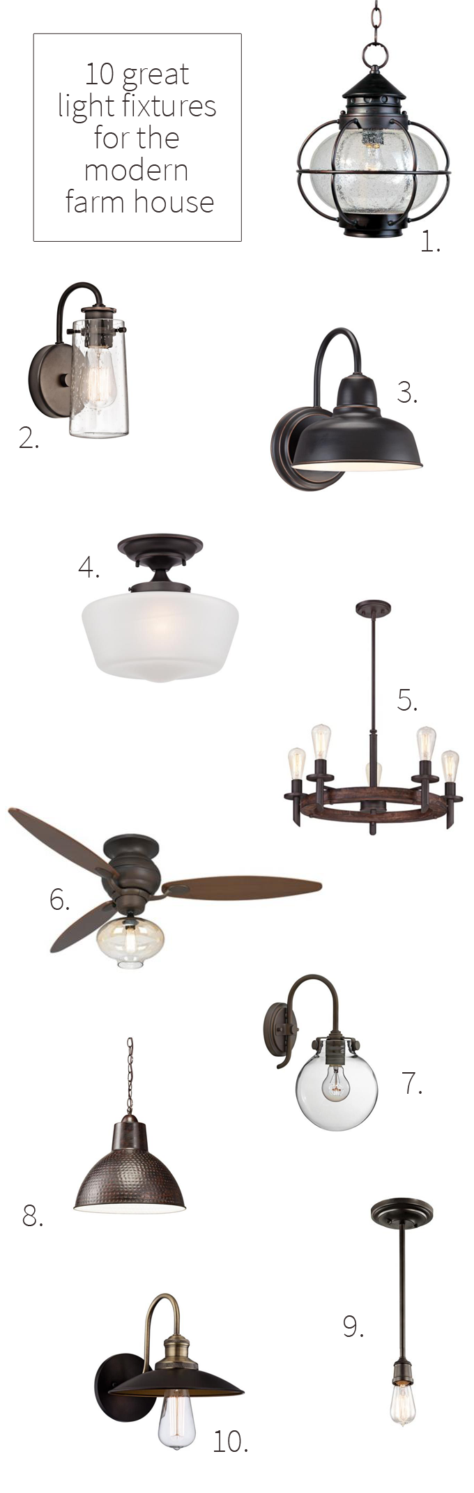 10 great farm house light fixtures just a few of the amazing light fixtures weve considered for the new house