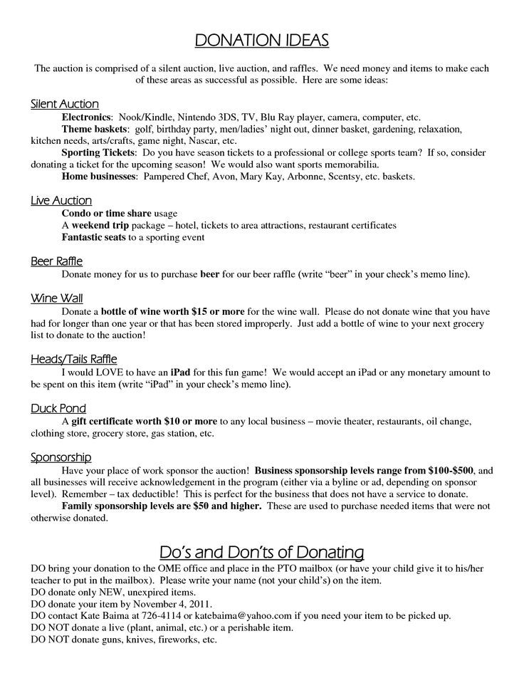 Silent Auction Ideas Donation Benefit Request Letter