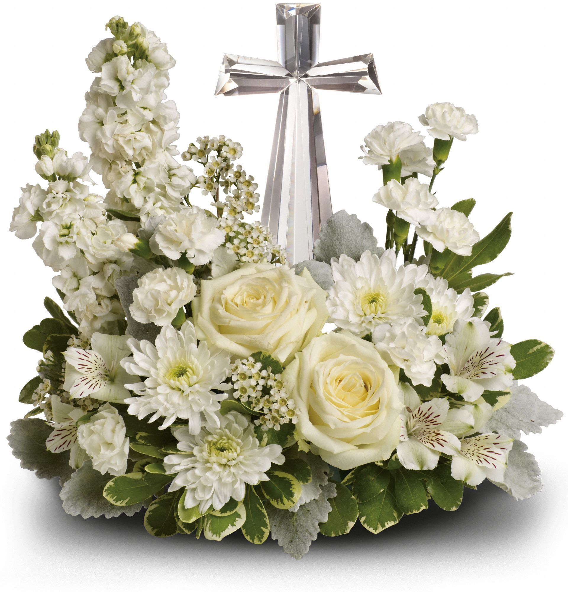Lush white funeral flowers surround a beautiful crystal cross in lush white funeral flowers surround a beautiful crystal cross in this stunning all white funeral bouquet the christian arrangement is appropriate to send izmirmasajfo