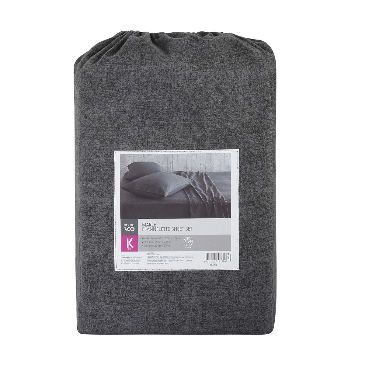 marle flannelette sheet set queen bed dark grey flannelette