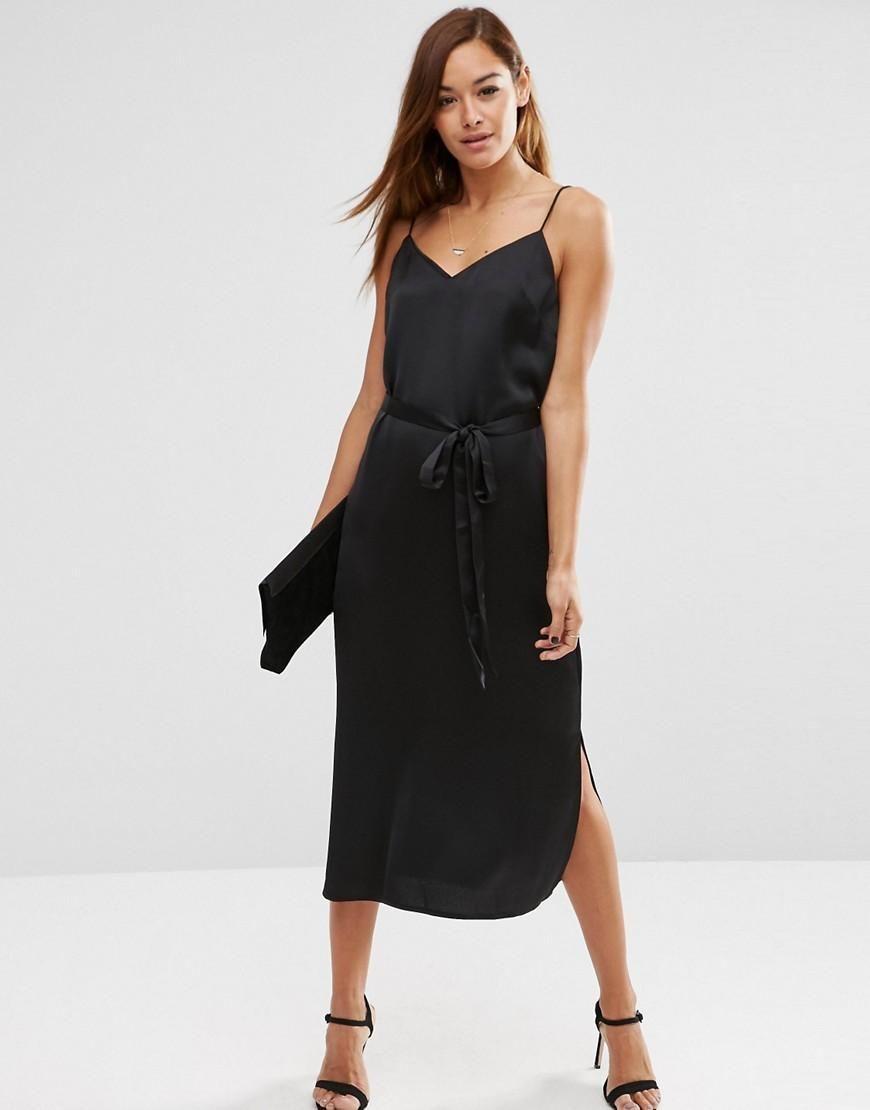 6176e103ce85 ASOS | ASOS Midi Slip Dress in Satin with Tie Waist at ASOS | Wish ...