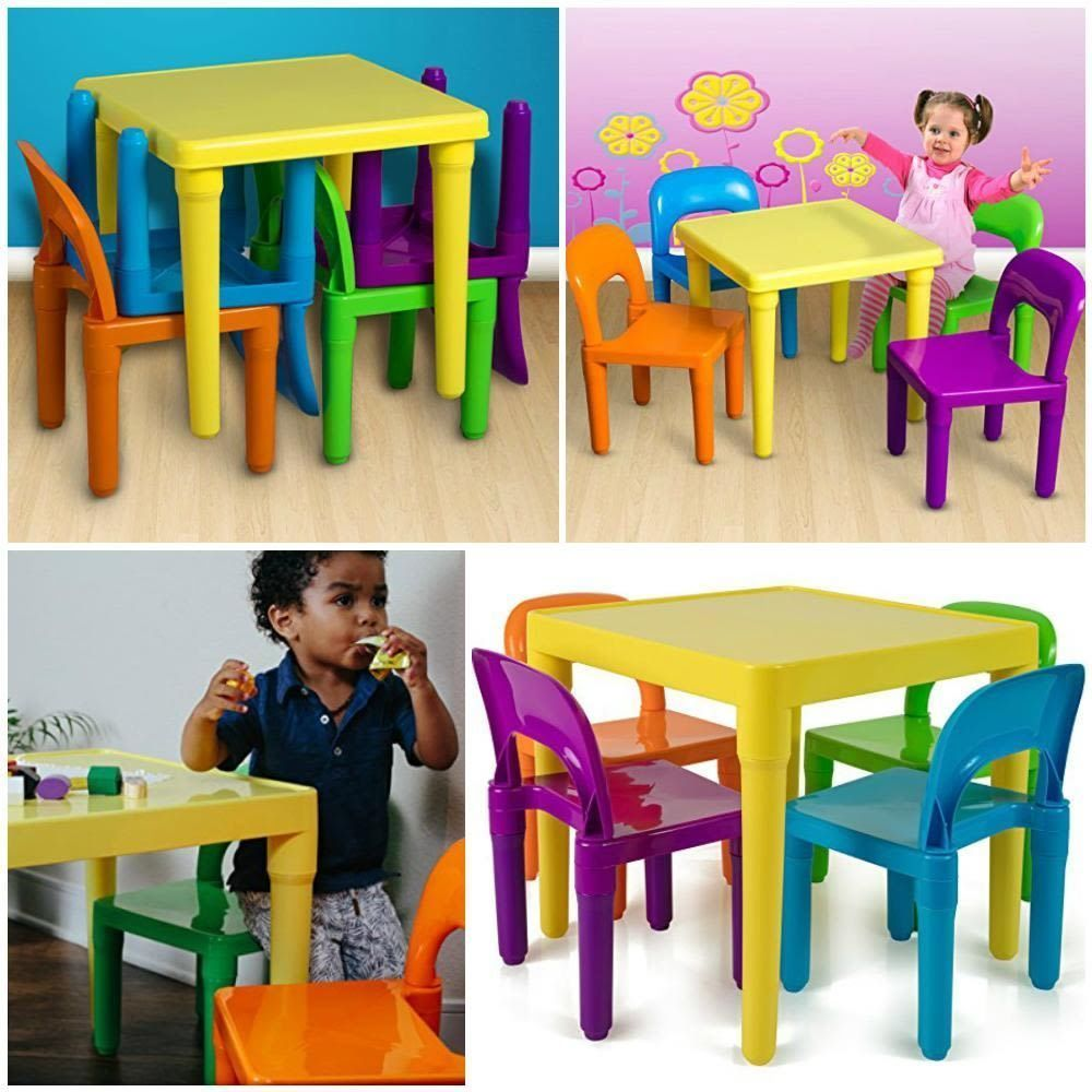 1f2c76e6fb3fe Kids Table And Chairs Toddler Child Toy Activity Furniture Play Set  Multicolor  OxGord