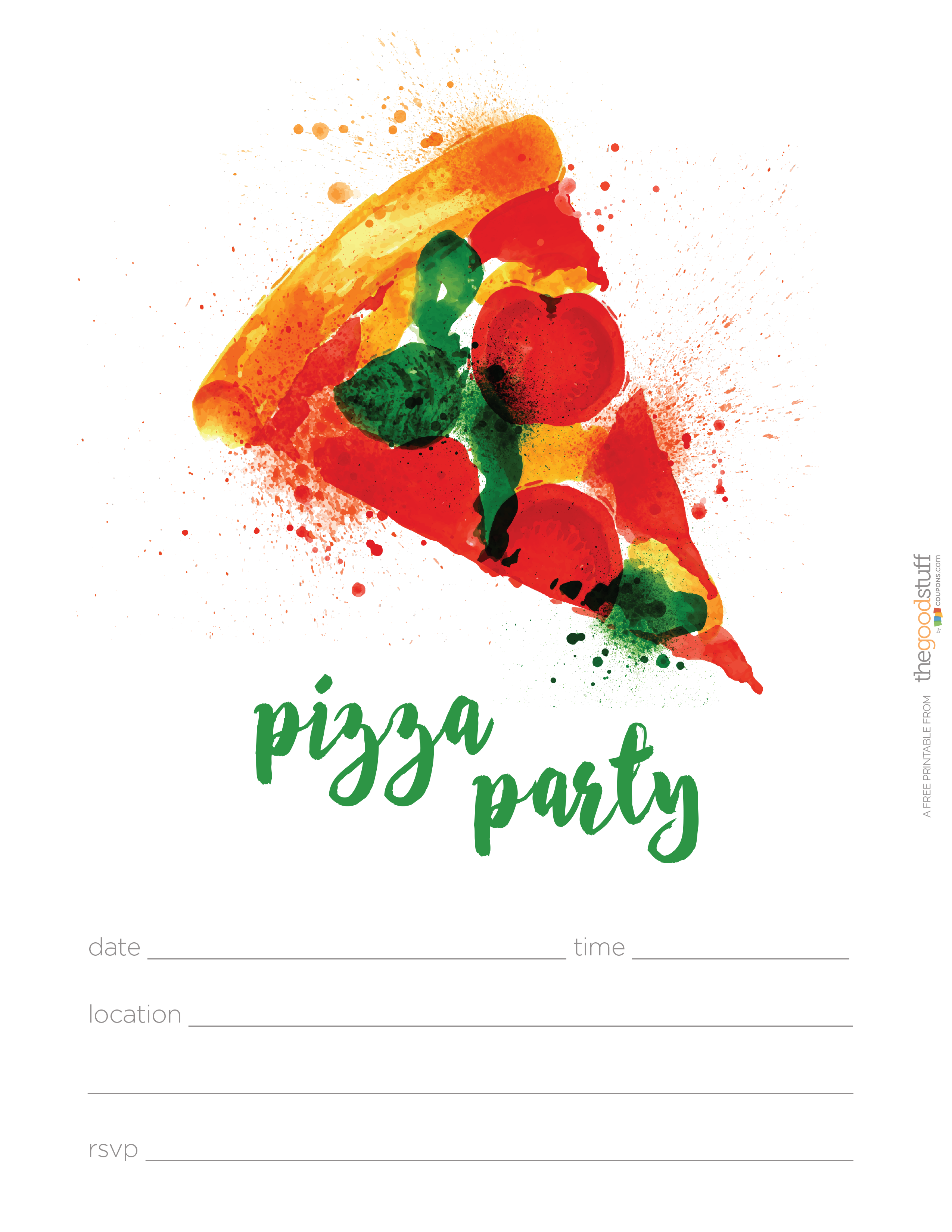 Hostess Helpers: Free Pizza Party Printables | Tea party birthday ...