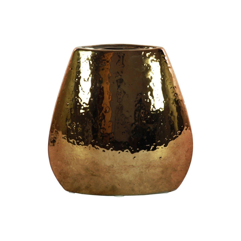 Utc Stoneware Elliptical Bellied Vase Hammered Chrome Finish