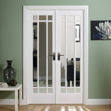 W4 Manhattan Doors & Frame Set with Bevelled Clear Glass and white ...