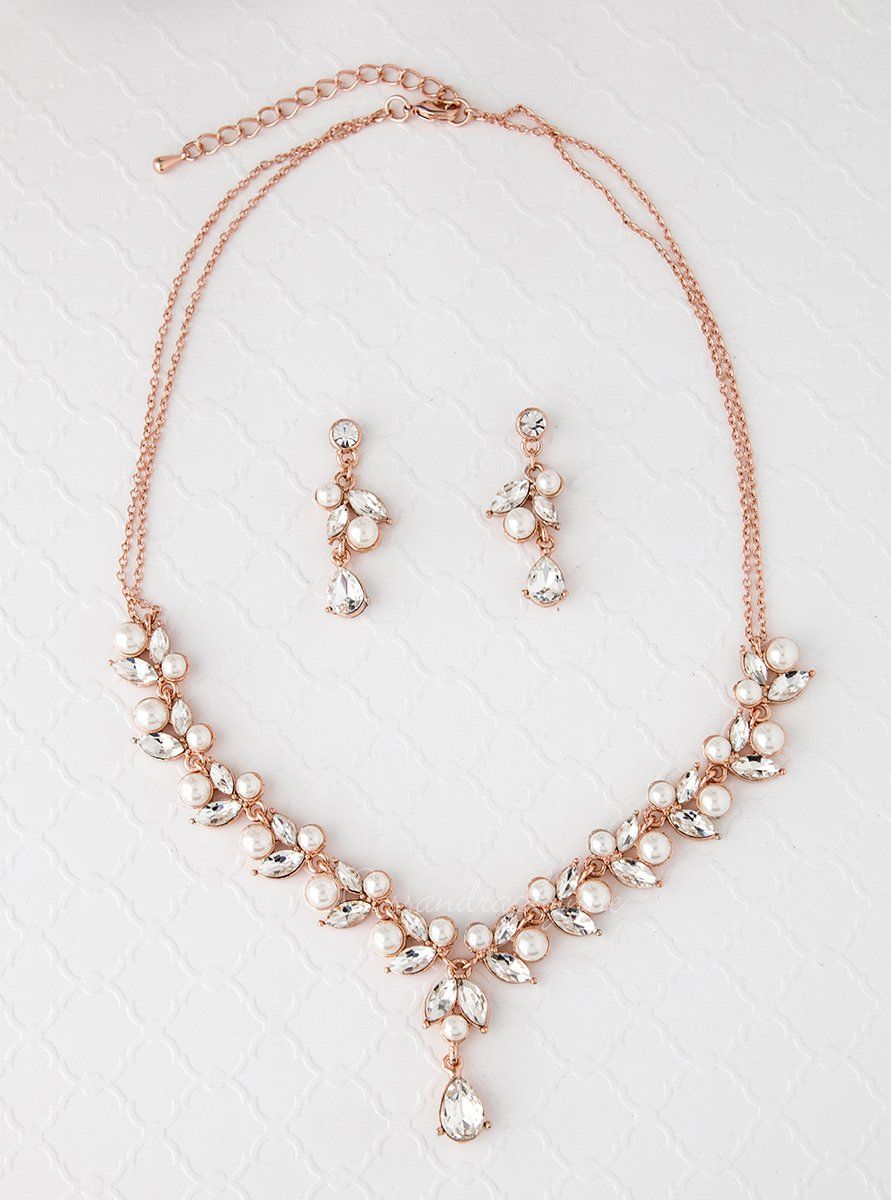Bridal Necklace Set in Rose Gold with Pearls Rose Rose gold