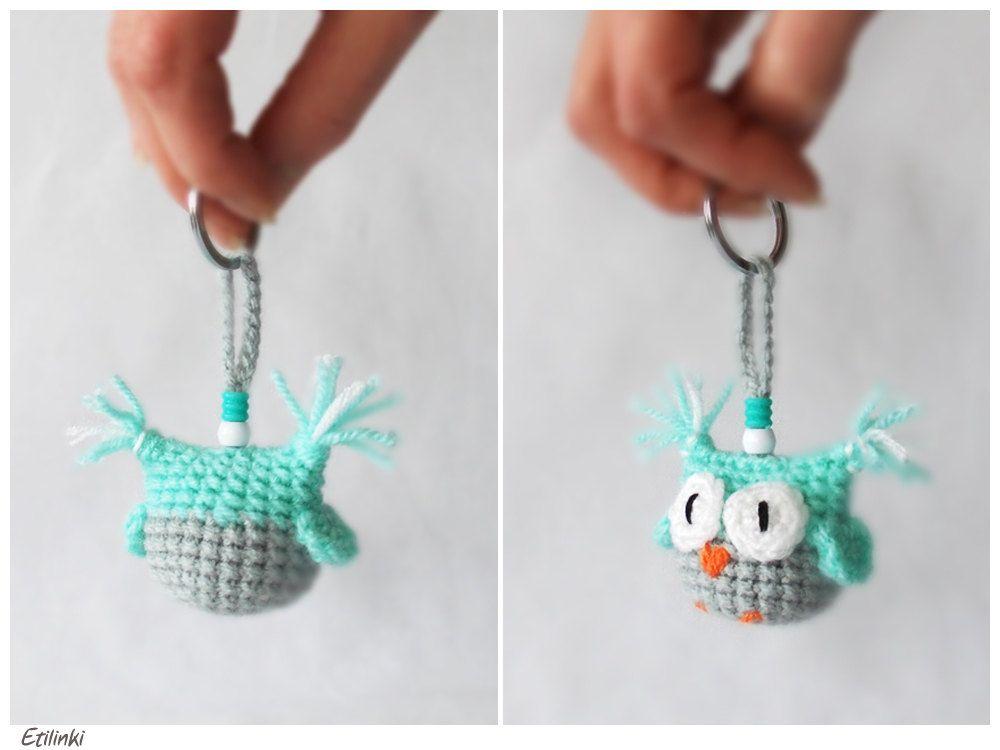 Green mint owl Crochet keychain Owl accessories Amigurumi keyring ...
