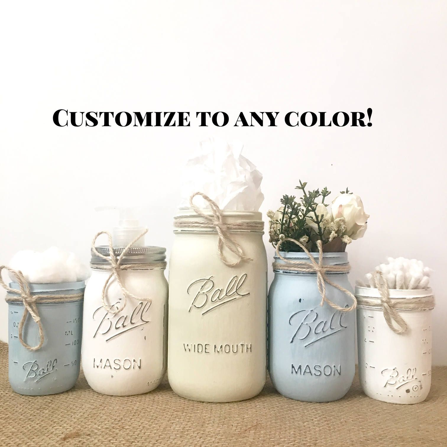 farmhouse decor, rustic mason jar bathroom set white, mason jar ...