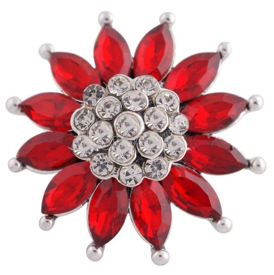 Silver Black Rhinestone Flower 20mm Snap Charm For Ginger Snaps Jewelry