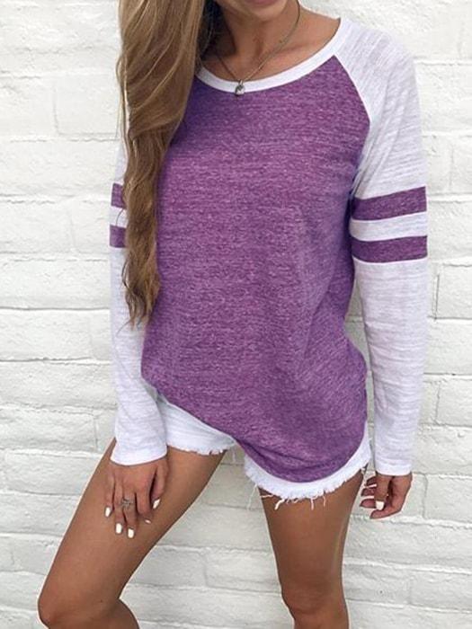65f2ebbc6ec Color Block Raglan Sleeve Top. Color Block Raglan Sleeve Top Long Sleeve  Baseball Shirts, Striped Long Sleeve Shirt ...