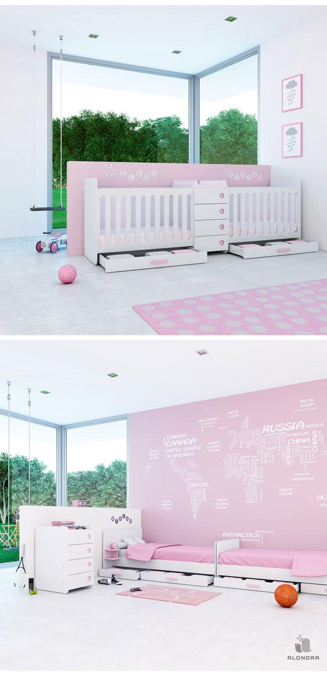 Cunas convertibles en cama para beb s gemelos en color - Cama para ninas ...