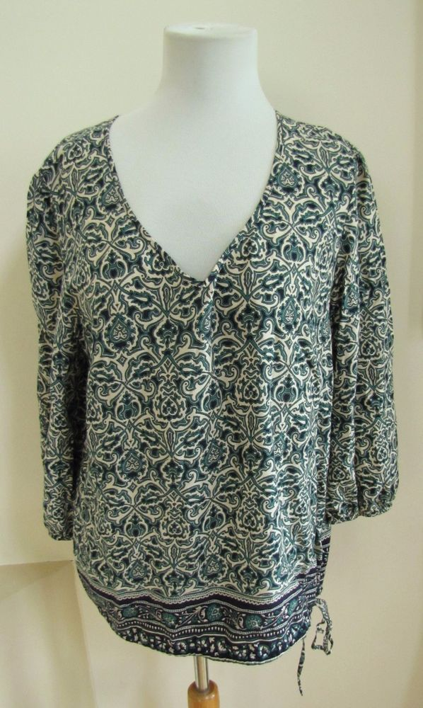 Lucky Brand Top Large L Peasant Tunic Green Print Blue V neck 3/4 sleeve tie hem #LuckyBrand #Tunic #Casual