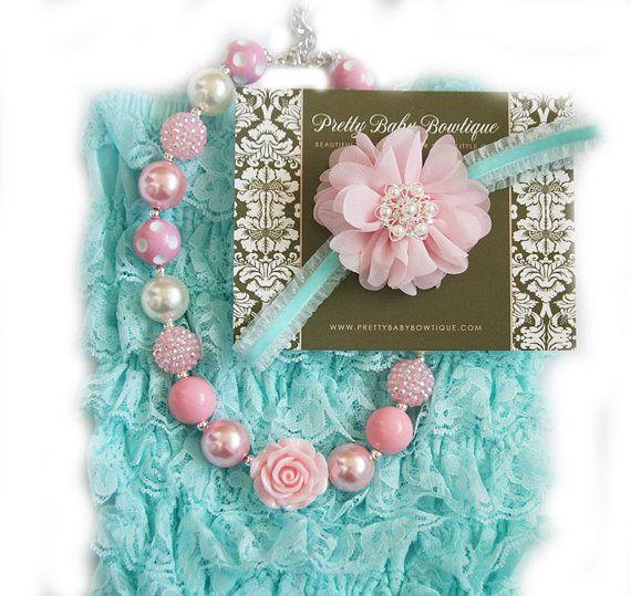 9968e30356e6 SALE Baby Lace Romper Headband Necklace SET