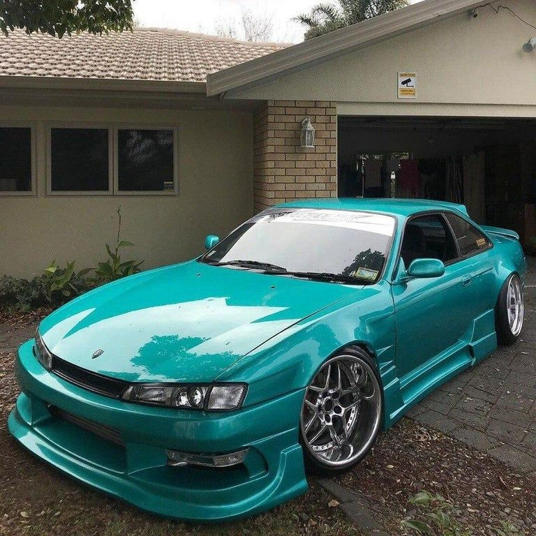 Stanced Nissan Silvia 200SX (S14) in the hood