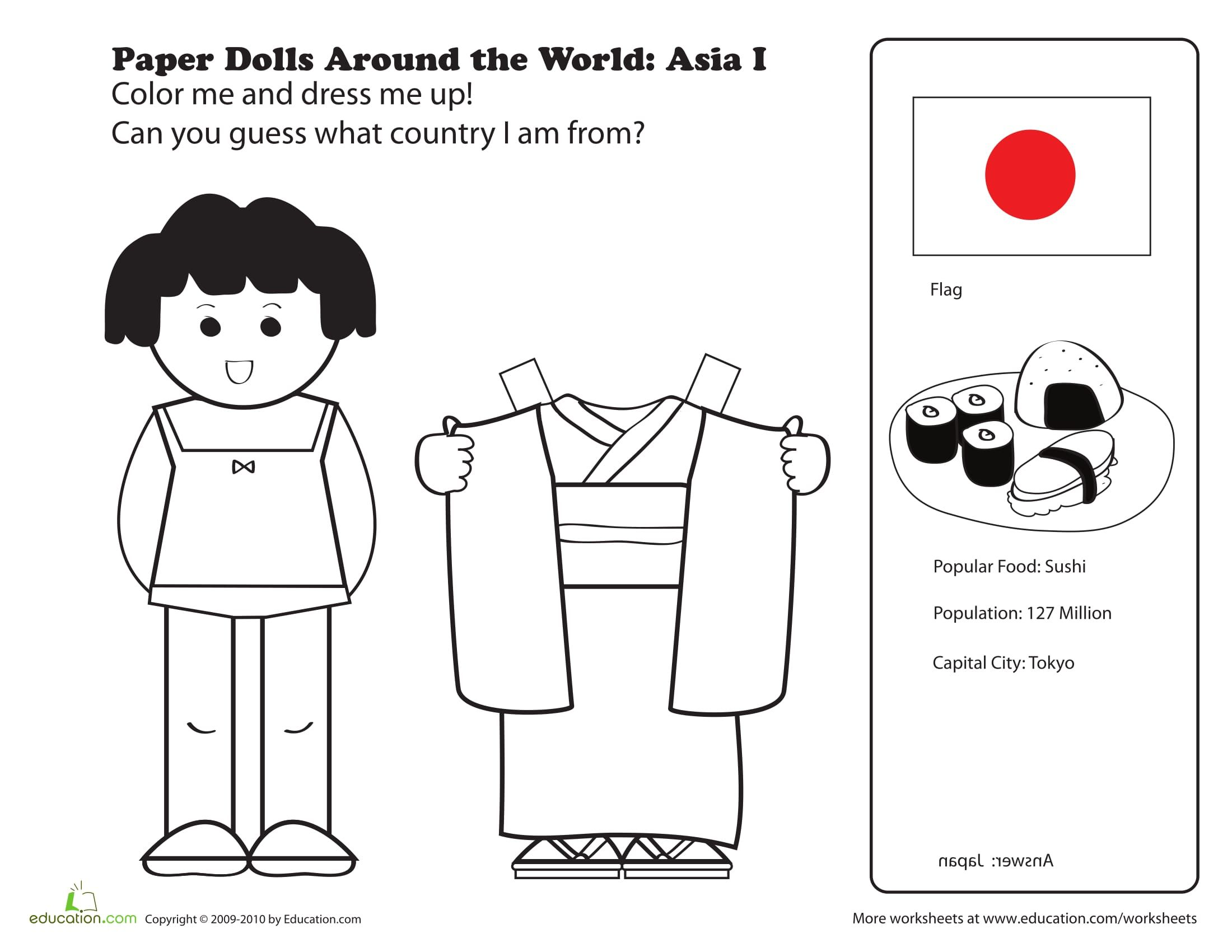 Fun Japanese Paper Doll For Geography Class On Japan