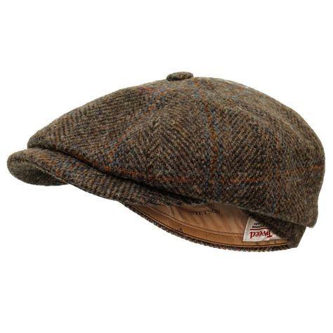 9bbd41a837410 Stetson Hats Stetson Hatteras Harris Tweed Herringbone Wool Flat Cap  6840517 366