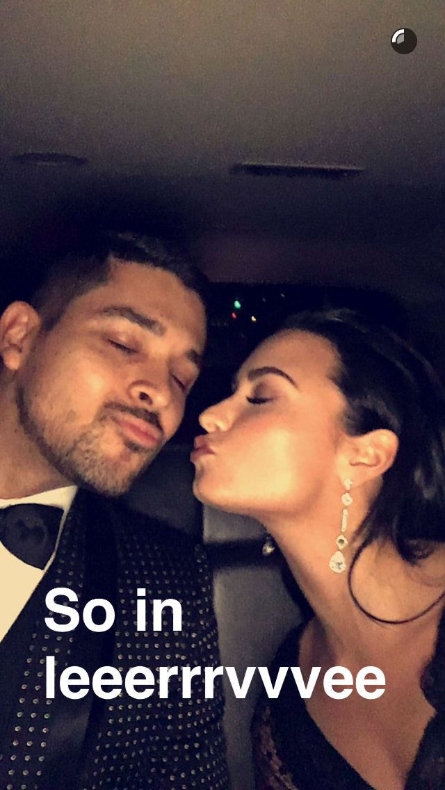 Demi and Wilmer on snapchat on the way to the Vanity Fair Oscar party in Beverly Hills, CA - February 28th